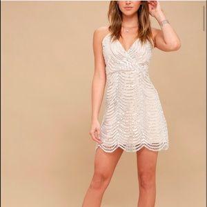 Lulu White and silver sequin mini dress